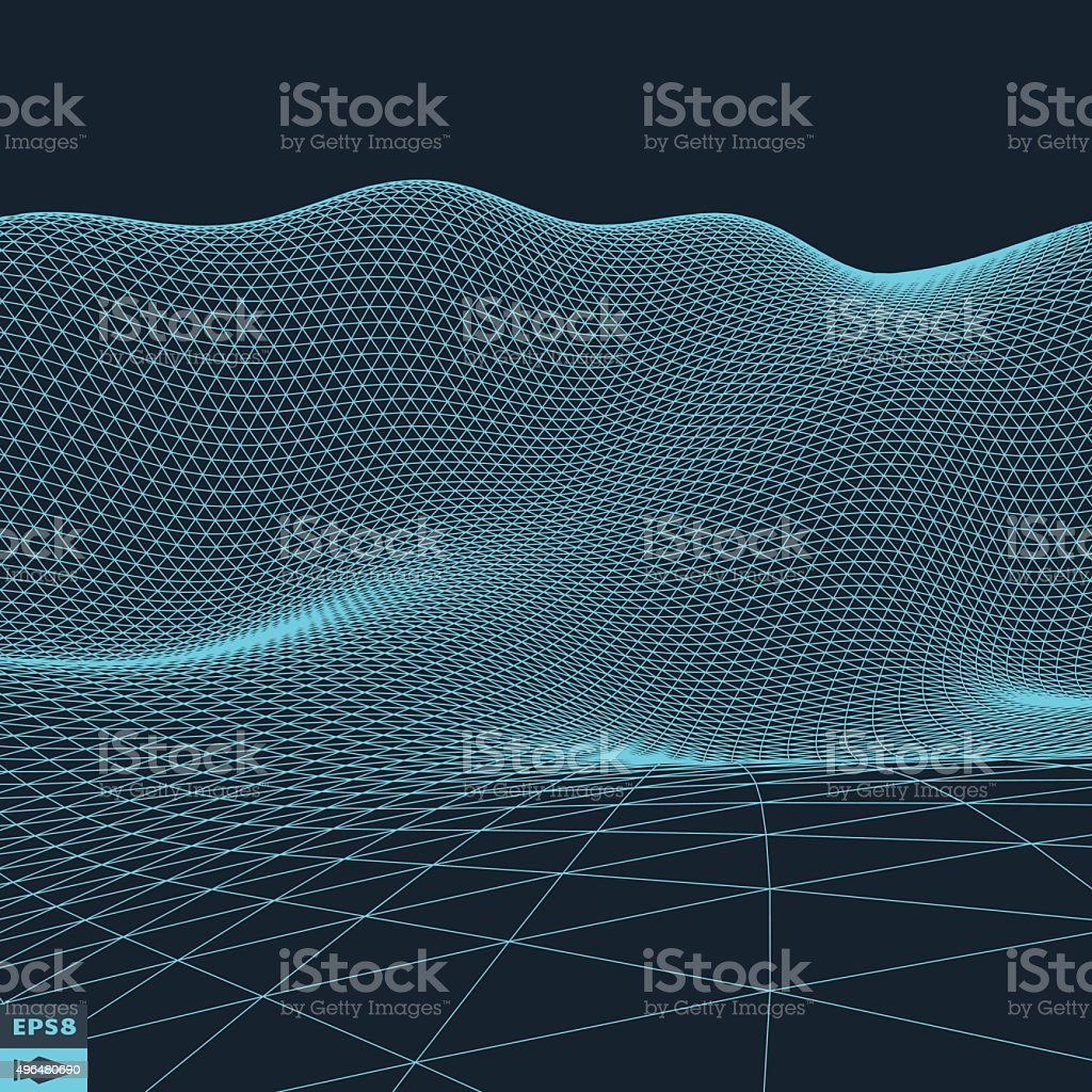 Abstract vector landscape background. Cyberspace grid. vector art illustration