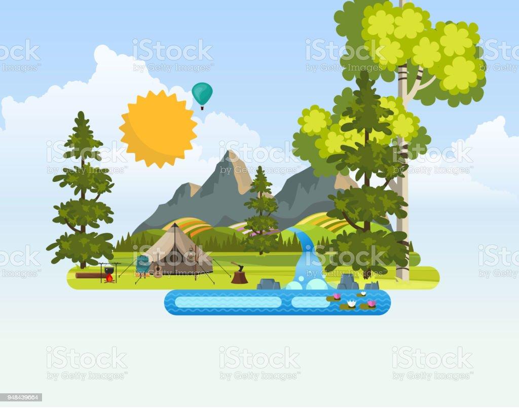 Abstract Vector Landscape Background. vector art illustration