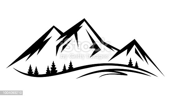 Abstract vector landscape nature or outdoor mountain view silhouette. Mountains and travel icons for tourism organizations or outdoor events and mountains leisure. Vector illustration EPS.8 EPS.10