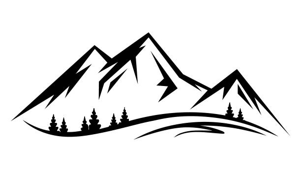 Abstract vector landscape nature or outdoor mountain view silhouette Abstract vector landscape nature or outdoor mountain view silhouette. Mountains and travel icons for tourism organizations or outdoor events and mountains leisure. Vector illustration EPS.8 EPS.10 land feature stock illustrations