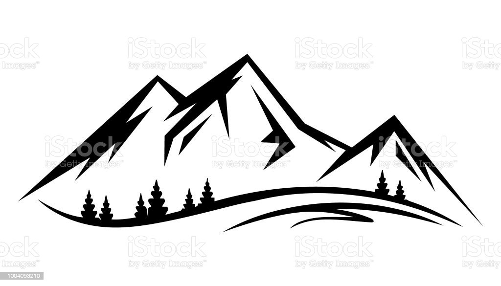 Abstract vector landscape nature or outdoor mountain view silhouette vector art illustration
