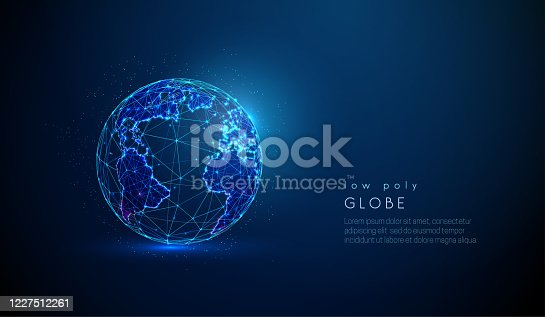 Abstract earth globe. World map. Space view. Low poly style design. Abstract geometric background. Wireframe light connection sphere structure. Modern 3d graphic concept. Isolated vector illustration