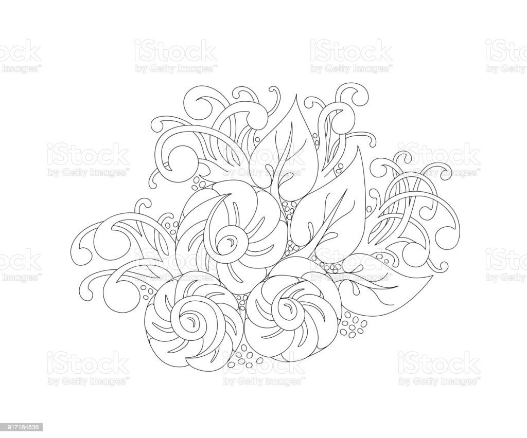 Abstract vector Monochrome Floral Background - Illustration vectorielle