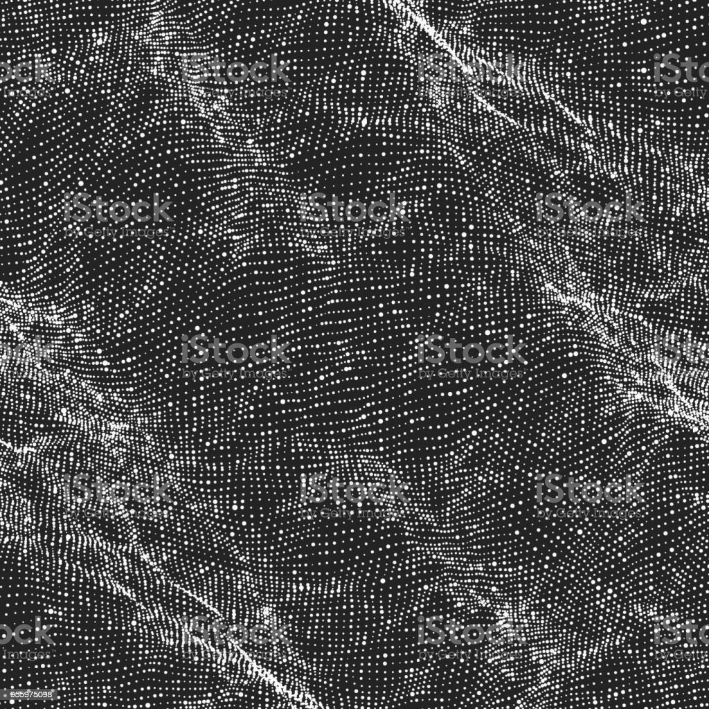 Abstract vector wave mesh background. Point cloud array. Chaotic...