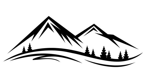 abstract vector nature or outdoor mountain range silhouette - black and white mountain stock illustrations, clip art, cartoons, & icons