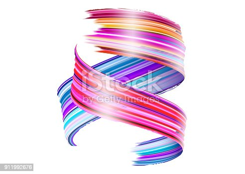 929915344istockphoto Abstract Vector Paint Brush Stroke. Colorful Curl of Liquid Paint. Digital 3D Ribbon with Brush Texture. Abstract Ink Background. Creative Spiral Wave with Pink, Blue, Red Colors. Isolated on White. 911992676