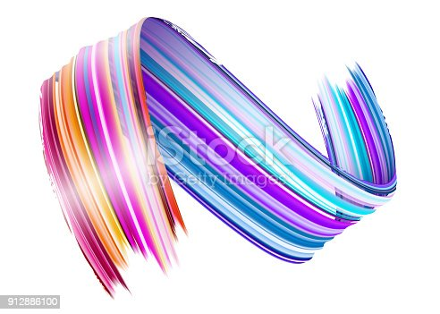 929915344 istock photo Abstract Vector Paint Brush Stroke. Colorful Curl of Liquid Paint. Digital 3D Ribbon with Brush Texture. Abstract Ink Background. Creative Spiral Wave with Pink, Blue, Red Colors. Isolated on White. 912886100