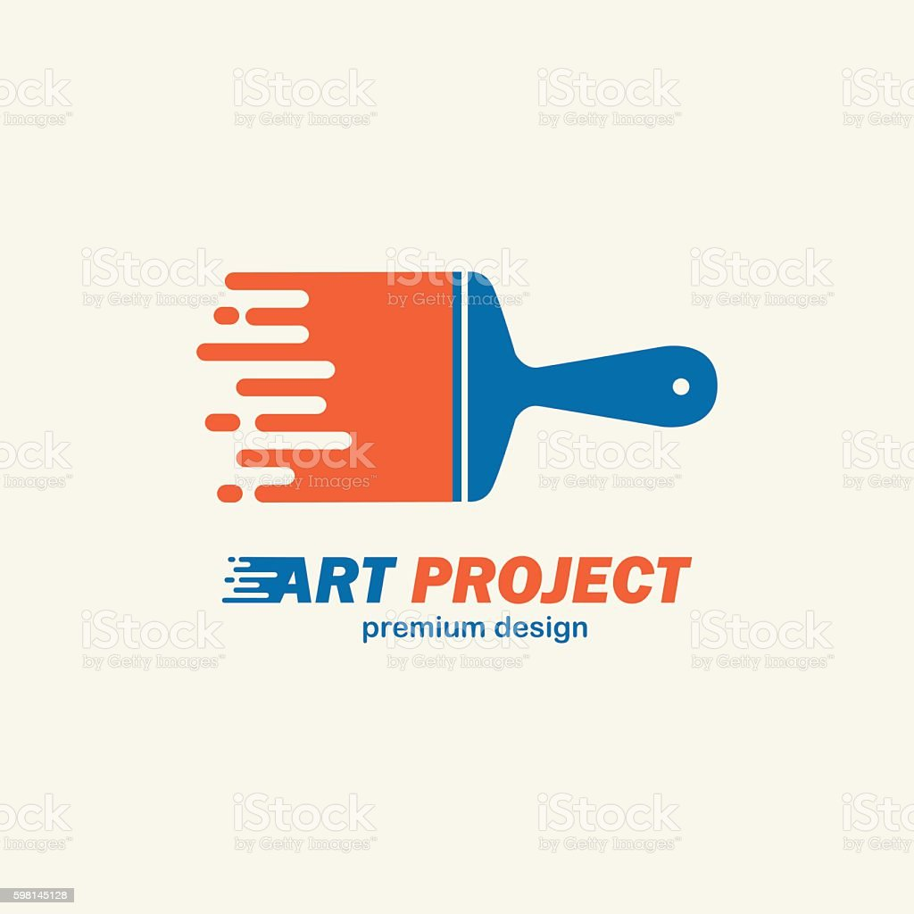 Abstract vector painting brush . Icon, emblem,  design . – Vektorgrafik