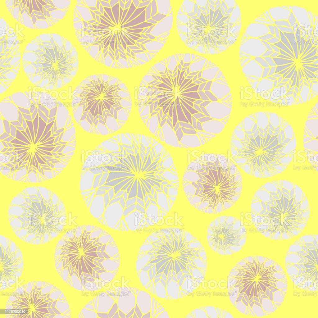 明るい黄色の背景上の抽象ベクトルパターン水色と紫の雪玉シンプルな