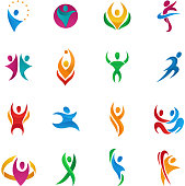 Abstract vector people silhouette teams and groups human figure shapes  icons concept design graphic characters set vector illustration