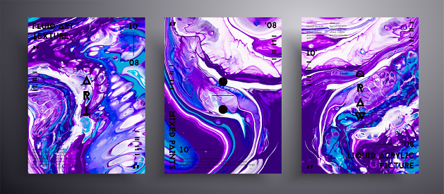 Abstract vector placard, texture set of fluid art covers. Trendy background that applicable for design cover, poster, brochure and etc. Purple, turquoise and navy blue creative iridescent artwork.