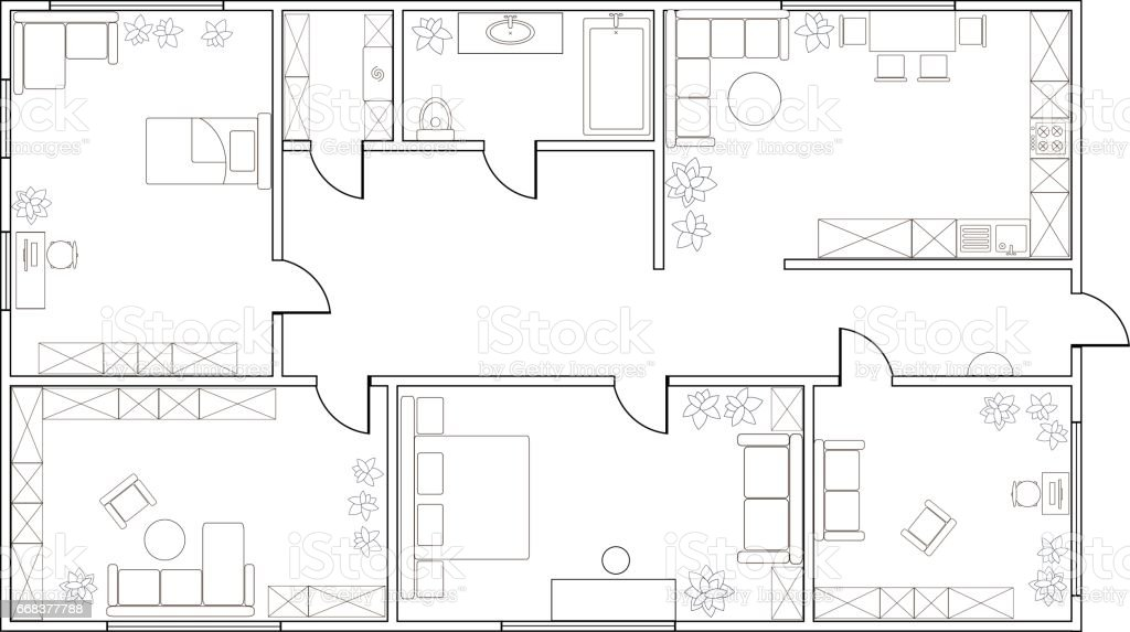 Abstract vector plan of two-bedroom apartment vector art illustration