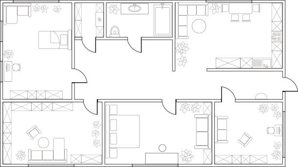 stockillustraties, clipart, cartoons en iconen met abstract vector plan van twee-slaapkamer appartement - interior design