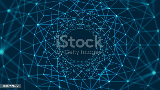Abstract vector polygonal background with connected lines and dots forming a circle