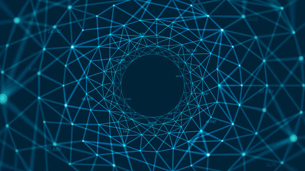 abstract vector polygonal background with connected lines and dots forming a circle - spiral stock illustrations