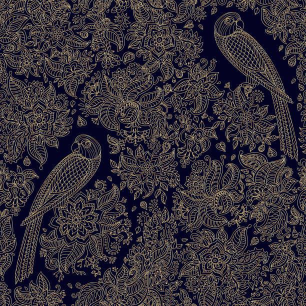 abstraktes vektor nahtlose blumenmuster. exotische vögel, fantastische blume verlässt. hell beige gold dünne konturlinie auf einem schwarzen hintergrund. fee-papagei-silhouette im dschungel. böhmische print. batik farbe - landschaftstattoo stock-grafiken, -clipart, -cartoons und -symbole