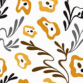 Vector seamless floral pattern. Elegant ornament with abstract simple plane flowers and branches with leaves. Background for fashion prints, fabric, wallpaper, textile, surface.
