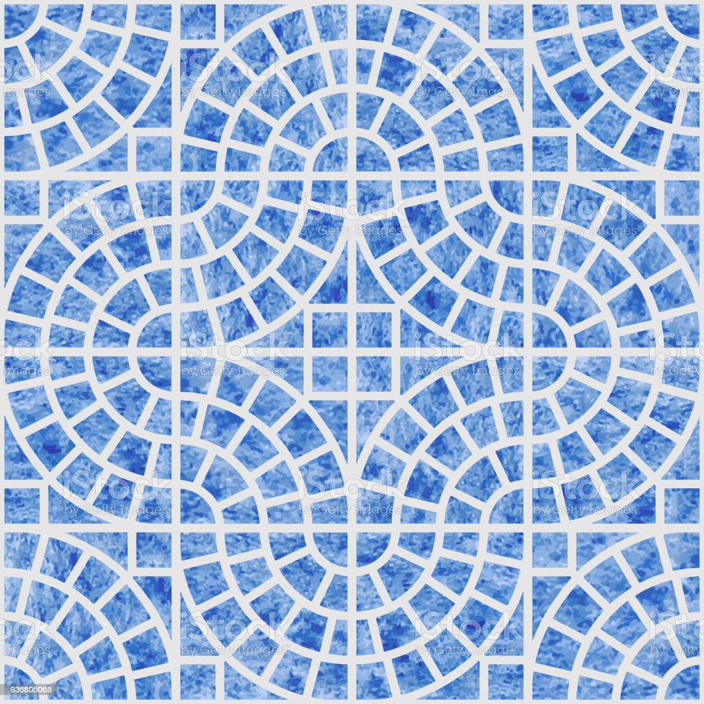 Abstract Vector Seamless Geometrical Pattern With Blue Watercolor ...