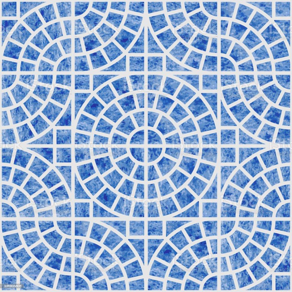 抽象的なベクトル明るい灰色の背景に青い水彩テクスチャとシームレスな幾何学模様床セラミック タイル壁紙包装紙地中海のセラミック スタイルのページ入力 でこぼこのベクターアート素材や画像を多数ご用意 Istock