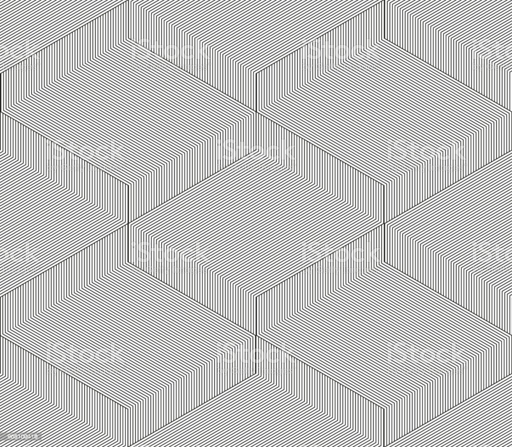 Abstract vector seamless moire pattern with cubic lattice lines. Monochrome graphic black and white ornament. Striped repeating texture abstract vector seamless moire pattern with cubic lattice lines monochrome graphic black and white ornament striped repeating texture - stockowe grafiki wektorowe i więcej obrazów chudy royalty-free