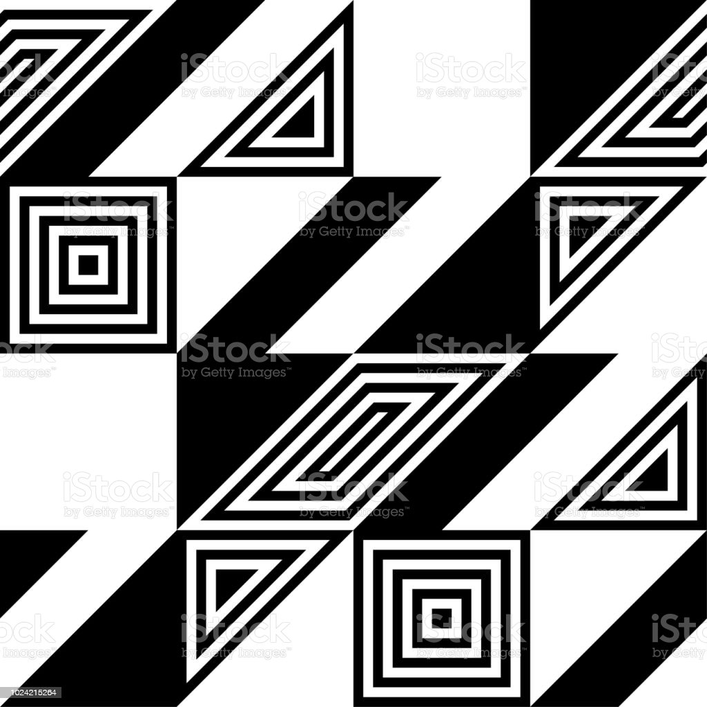 Abstract Vector Seamless Op Art Pattern Black And White Pop Art