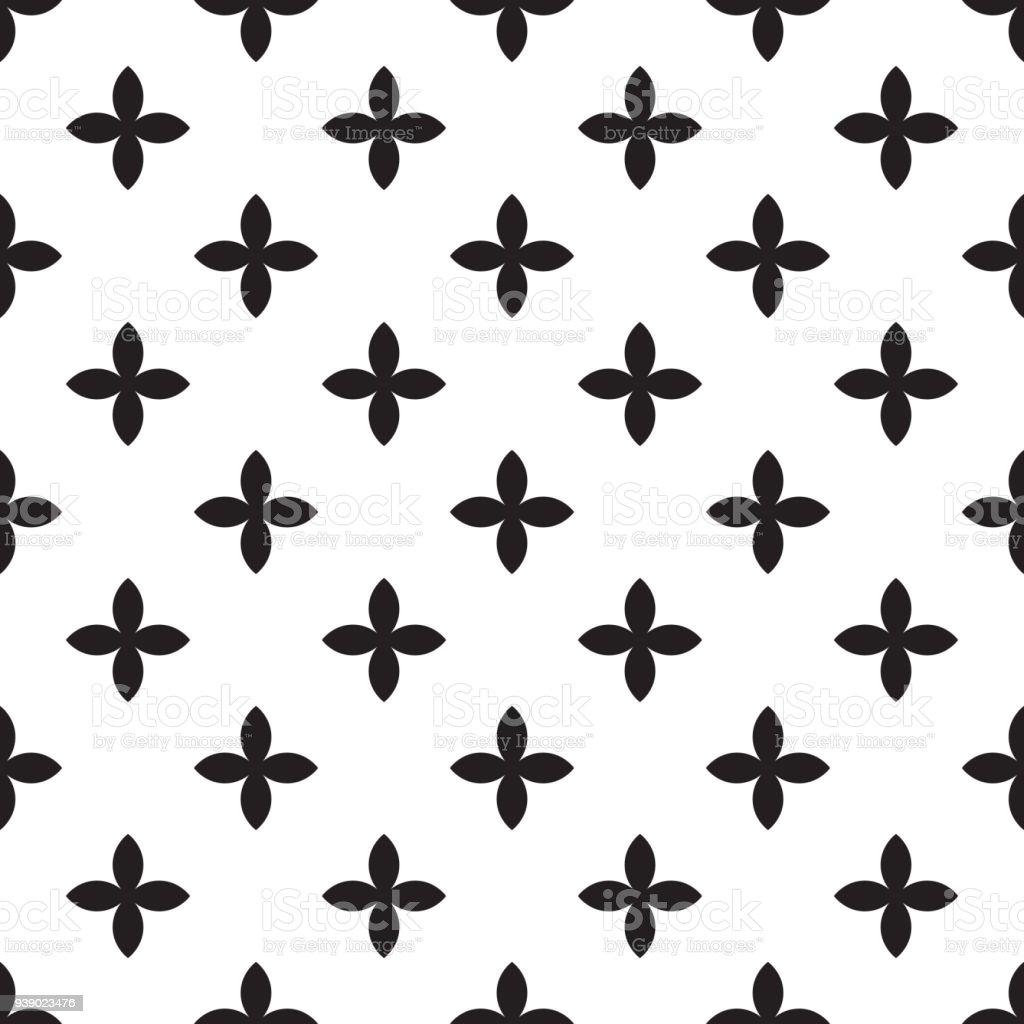 白い背景の斜め配置で黒四つ葉花の抽象的なベクトルのシームレスな