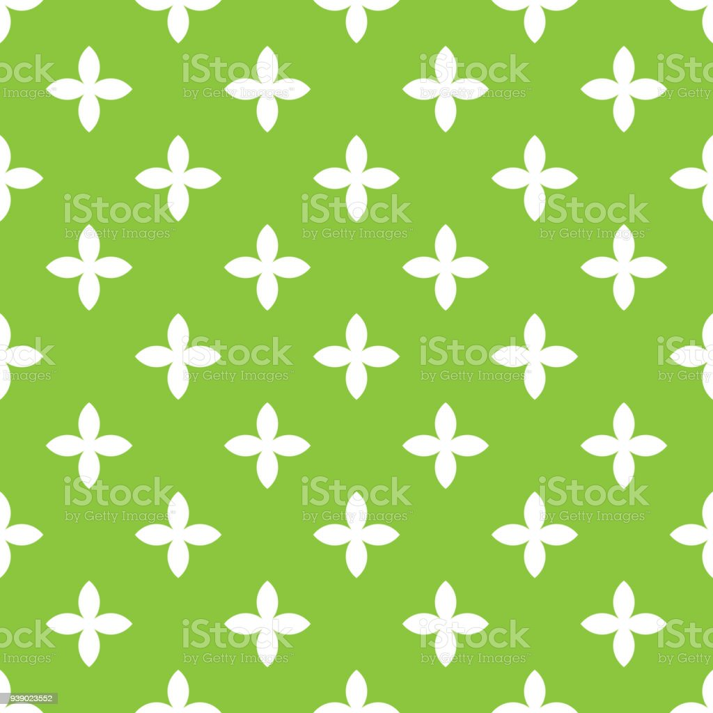 緑の背景に斜めの整理で白い四つ葉花の抽象的なベクトルのシームレスな