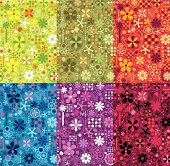 Vector seamless pattern with abstraction flowers and curves.