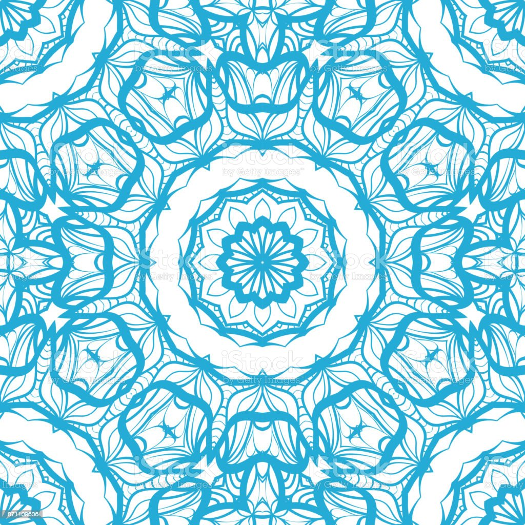 Abstract Vector Seamless Pattern With Floral Mandala Style Blue Color For Modern Design