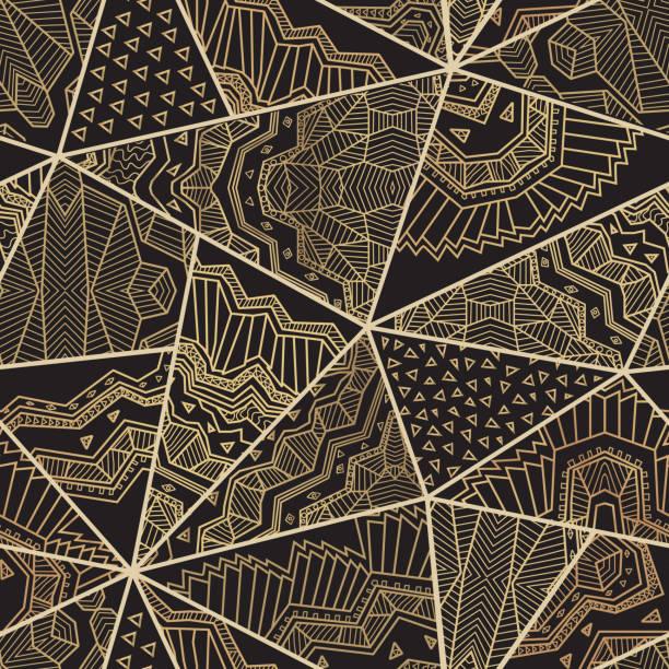 抽象向量無縫三角拼接模式從黑色和金色的幾何藝術裝飾裝飾品, 程式化的明星和東方的徑向花環。地毯, 紡織印刷品, 牆紙, 包裝紙 - 阿爾及利亞 幅插畫檔、美工圖案、卡通及圖標