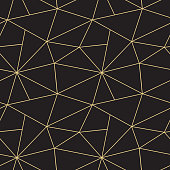 Abstract vector seamless triangular patchwork pattern from black and golden geometric shapes .Simple Art deco ornament. Carpet embroidery, textile print, wallpaper, wrapping paper, web page fill