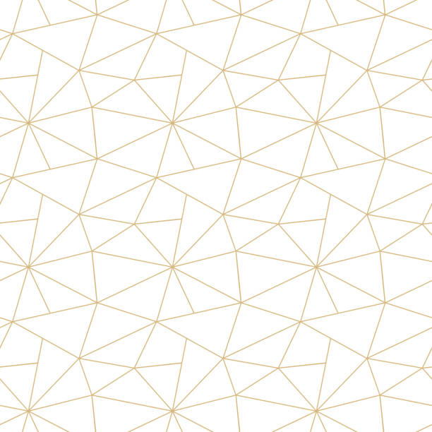 Abstract vector seamless triangular patchwork pattern from golden geometric shapes on white. Simple Art deco ornament. Carpet embroidery, textile print, wallpaper, wrapping paper, web page fill Abstract vector seamless triangular patchwork pattern from golden geometric shapes on white. Simple Art deco ornament. Carpet embroidery, textile print, wallpaper, wrapping paper, web page fill lace textile stock illustrations