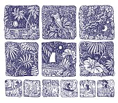 Abstract vector set of doodle square sketches. Blue and white hand drawn Hawaii island, palm, ocean waves, fantasy leaves, hibiscus flower, lady in swimsuit. Tee-shirt vintage print. Coloring book page, screen saver