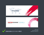 Abstract vector set of modern horizontal website banners with grunge red stroke, abstract art for festival, event, website, communication. Clean web headers design.
