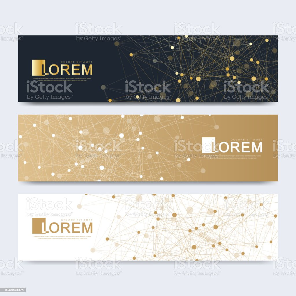 abstract vector set of modern website banners scientific cybernetics