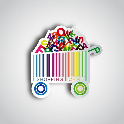 Abstract vector shopping cart made from bar-code