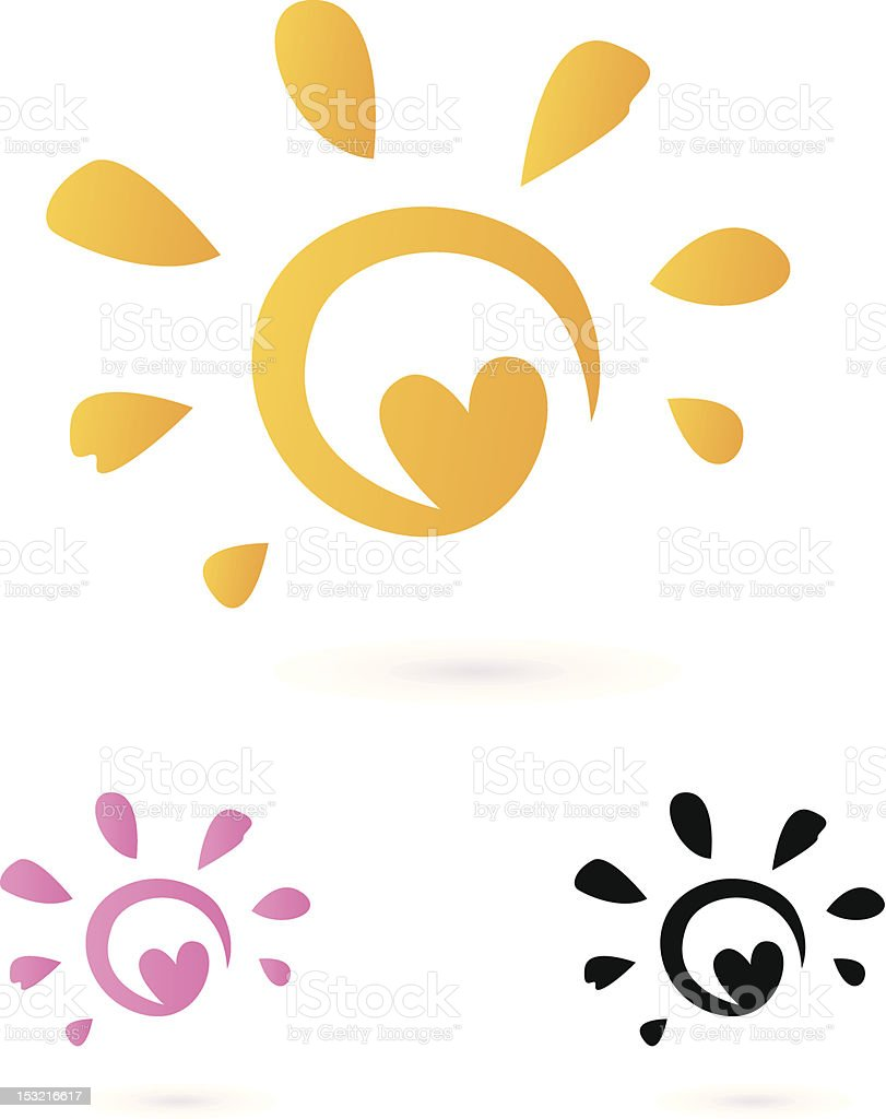 Abstract vector Sun icon with Heart isolated on white royalty-free abstract vector sun icon with heart isolated on white stock vector art & more images of abstract