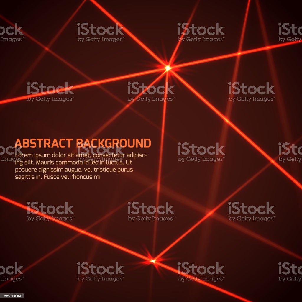 Abstract vector technology background with security red laser beams vector art illustration