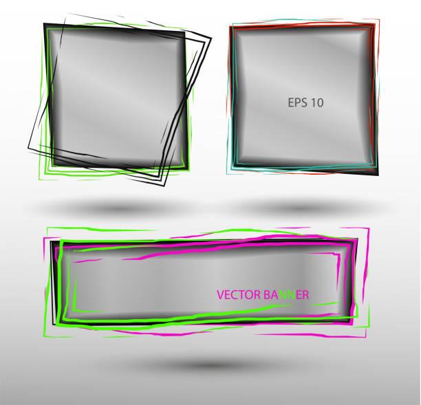 不同顏色線條和條紋的抽象向量透明橫幅向量藝術插圖