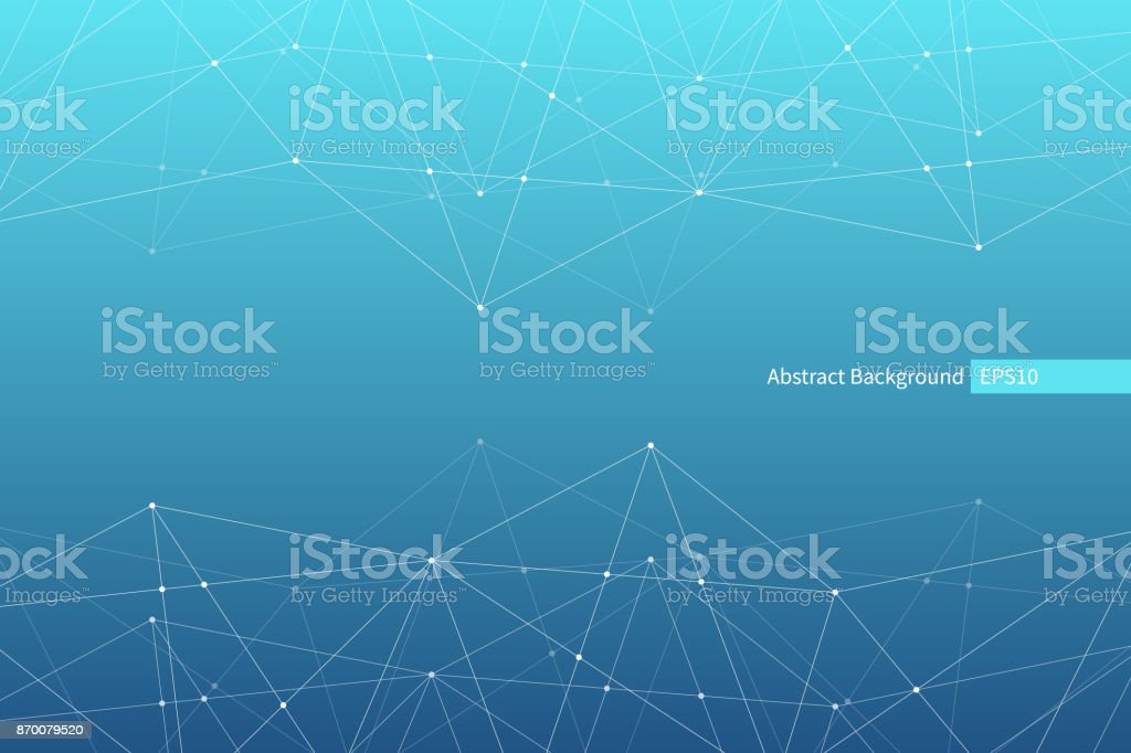Abstract vector triangle pattern. Blue white geometric polygonal network background. Molecular structure. Infographic scientific illustration for business, marketing project, template, concept design