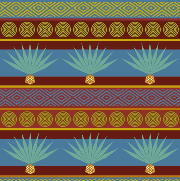 Vector abstracto etnico tribal. Patrón transparente brillante con agave azul grabado - ilustración de arte vectorial