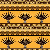 Abstract vector tribal ethnic background. Seamless pattern with blue agave. Stylized mexican ornament