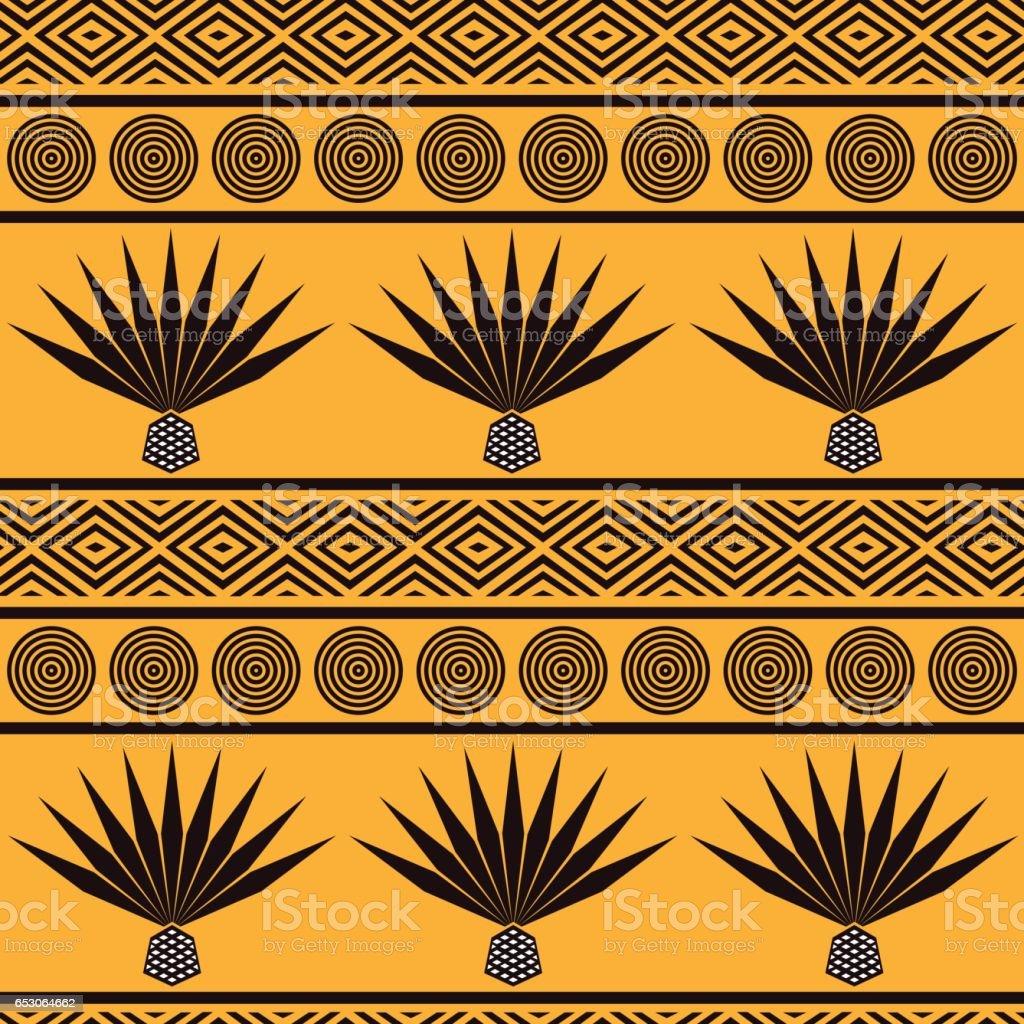 Vector abstracto etnico tribal. Patrón sin fisuras con agave azul - ilustración de arte vectorial