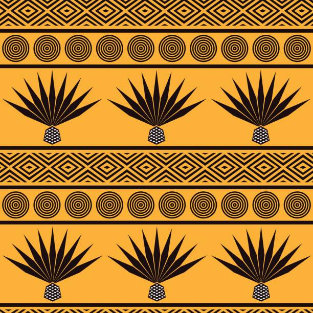 Abstract vector tribal ethnic background. Seamless pattern with blue agave Abstract vector tribal ethnic background. Seamless pattern with blue agave. Stylized mexican ornament neo classical stock illustrations