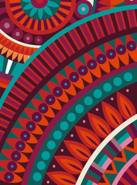 bildbanksillustrationer, clip art samt tecknat material och ikoner med abstract vector tribal ethnic background - latino music