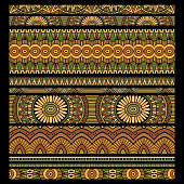 Abstract vector tribal ethnic stripes background set