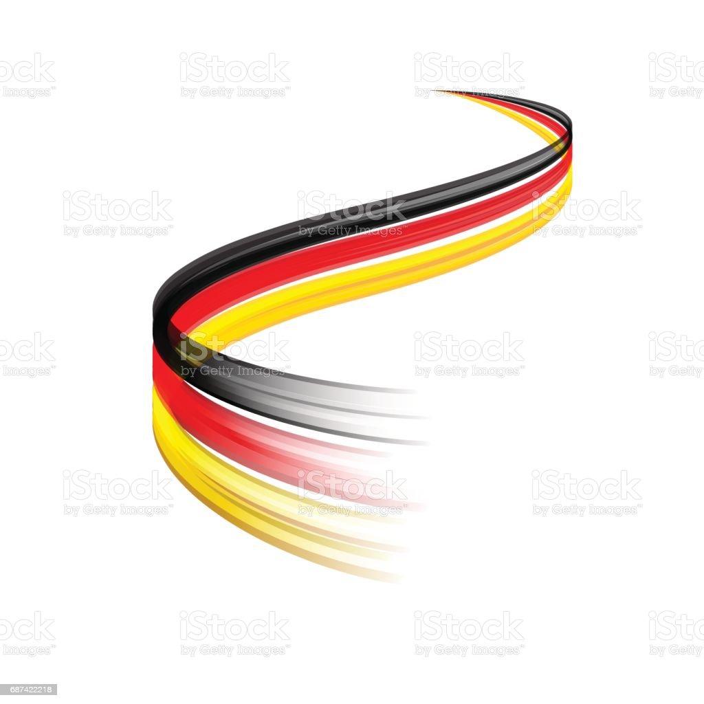 Abstraktes Vektor Gefolge bewegte, dynamische deutsche Flagge Konzept – Vektorgrafik