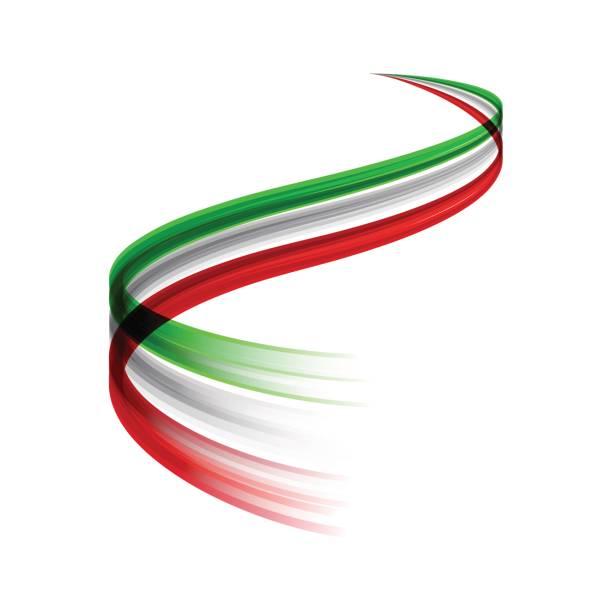 Conceito de bandeira italiana vetor abstrato esteira em movimento, dinâmico - ilustração de arte em vetor
