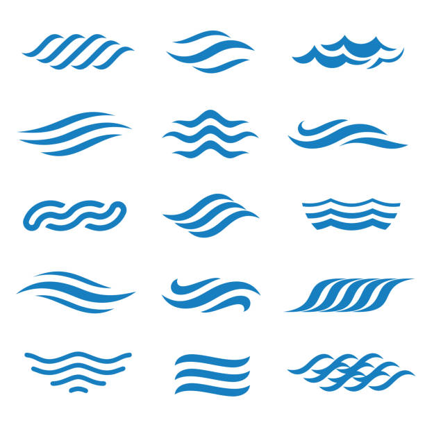stockillustraties, clipart, cartoons en iconen met abstracte vector water icon set. - golfpatroon