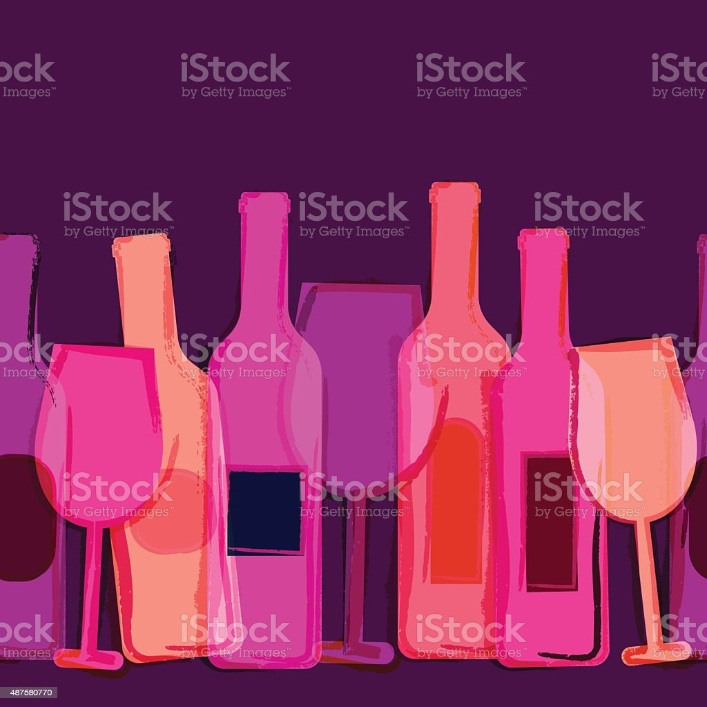 Abstract vector watercolor seamless background. Red wine bottles and glasses. vector art illustration